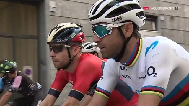 Así fue el estreno de Alejandro Valverde con el maillot arcoíris en los Tres Valles Varesinos
