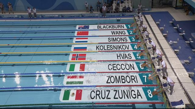 Kolesnikov wins men's 50m backstroke gold