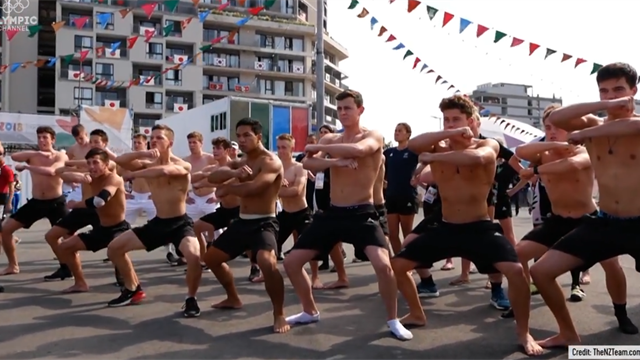 New Zealand greet triathle Dylan McCullough with a Haka