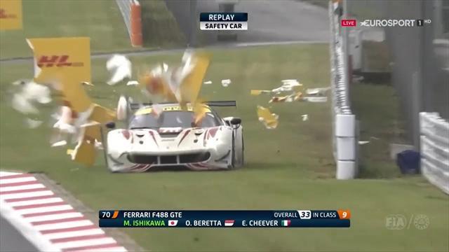 6 Horas de Fuji: Brutal accidente al reventarle un neumático en plena recta de meta