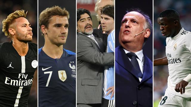 Neymar, Griezmann, Maradona, Tebas y Vinicius, los nombres del día