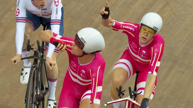 Denmark claim men's Team Pursuit gold as technical issues blight GB