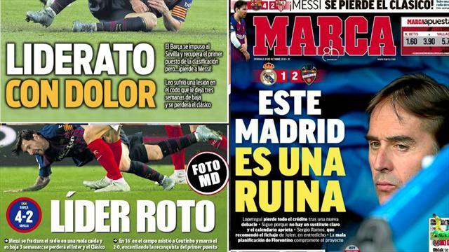 """La """"ruina"""" del Real Madrid y la lesión de Messi, las portadas de este domingo"""