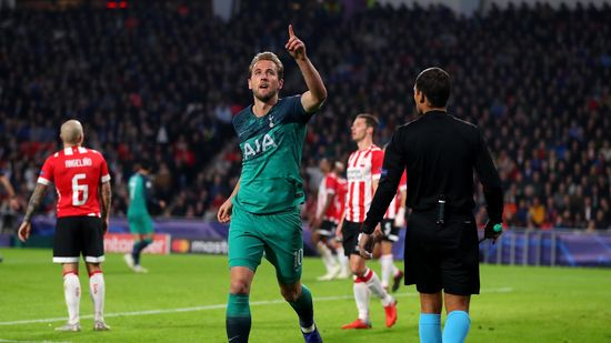 Harry Kane of Tottenham Hotspur celebrates after scoring his team's second goal during the Group B match of the UEFA Champions League between PSV and Tottenham Hotspur at Philips Stadion on October 24, 2018 in Eindhoven, Netherlands