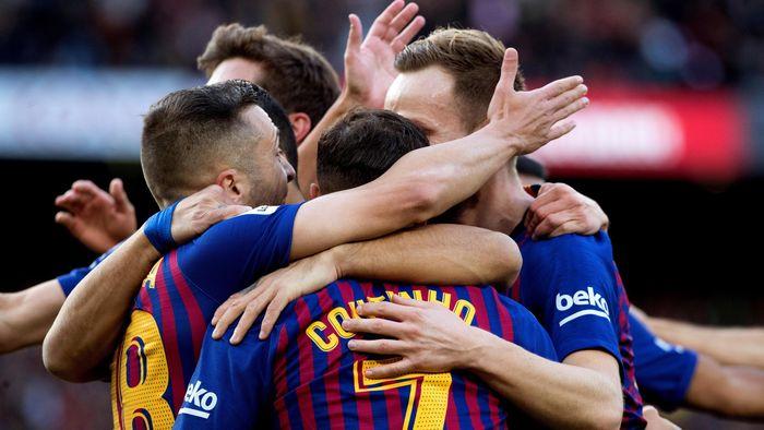 Los jugadores del Barcelona celebrando un gol en el Clásico ante el Real Madrid