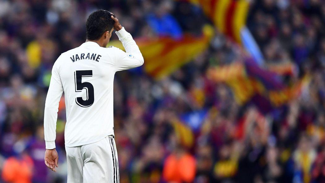Varane, en un partido con el Real Madrid.