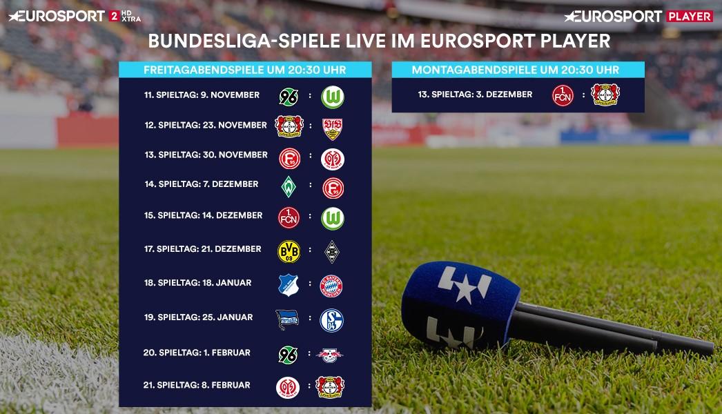 Diese Bundesliga-Spiele zeigt Eurosport live im Eurosport Player