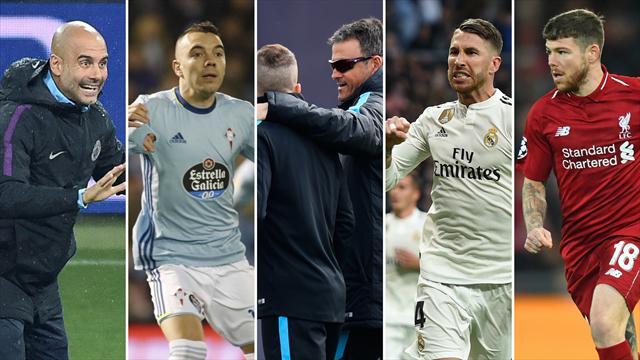 Guardiola, Aspas, Luis Enrique y Jordi Alba, Ramos y Alberto Moreno, los nombres del día