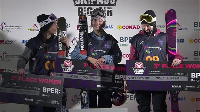 Watch the Women's Big Air podium celebrations in Modena