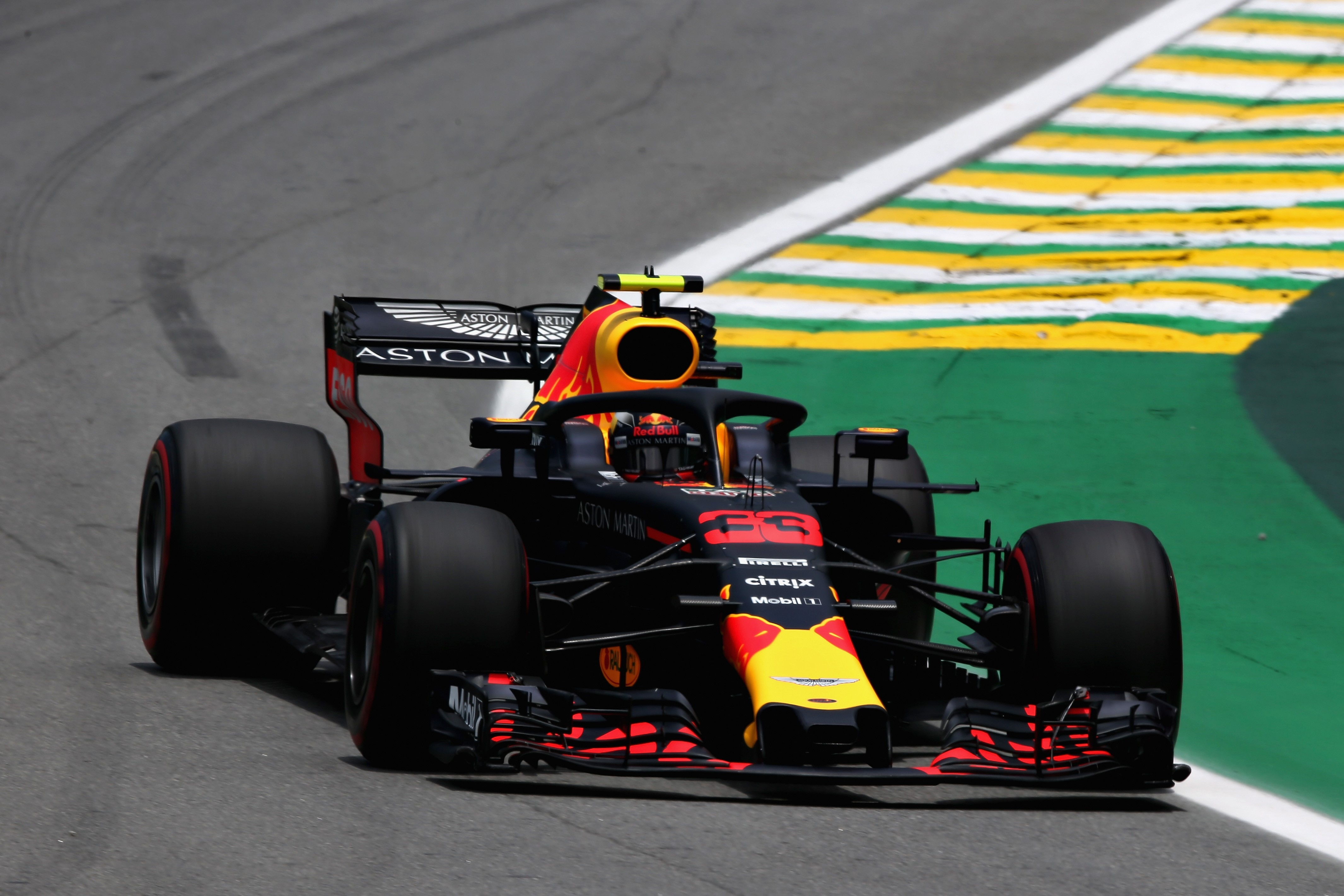 Max Verstappen of the Netherlands driving the (33) Aston Martin Red Bull Racing RB14 TAG Heuer on track during practice for the Formula One Grand Prix of Brazil at Autodromo Jose Carlos Pace on November 9, 2018 in Sao Paulo, Brazil