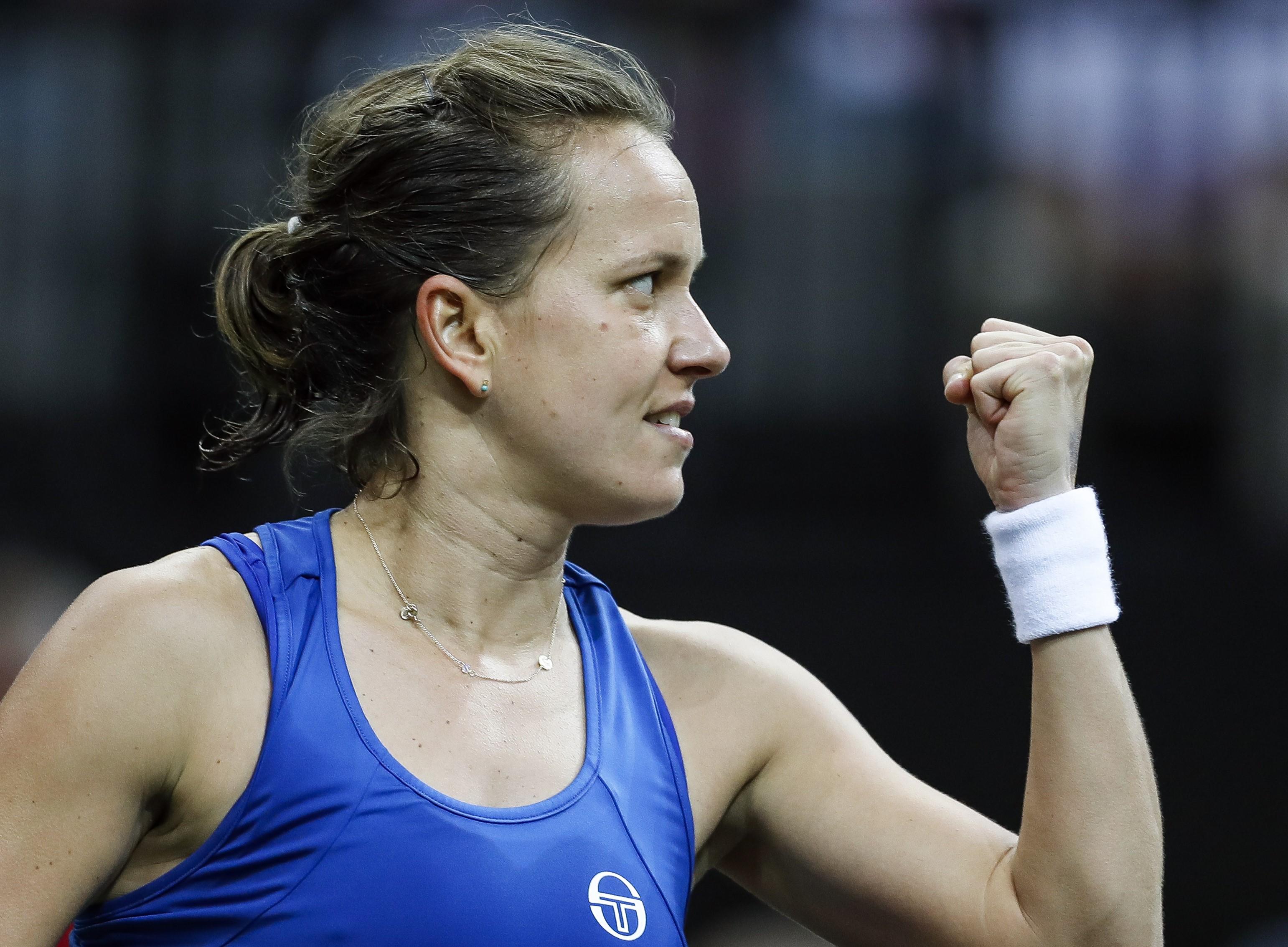 Barbora Strycova lors de la finale de la Fed Cup
