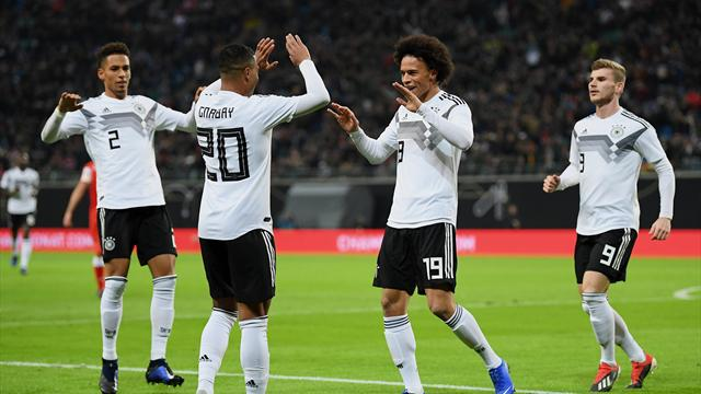 Sane scores his first international goal as Germany put three past Russia