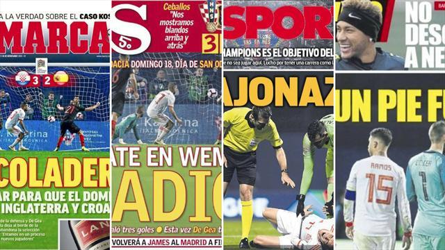 'Coladero' o 'bajonazo', las duras portadas tras la derrota de España en Crocia
