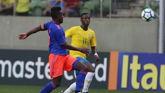 Una 'elástica' y poco más de Vinicius en el Brasil Sub 20-Colombia Sub 20