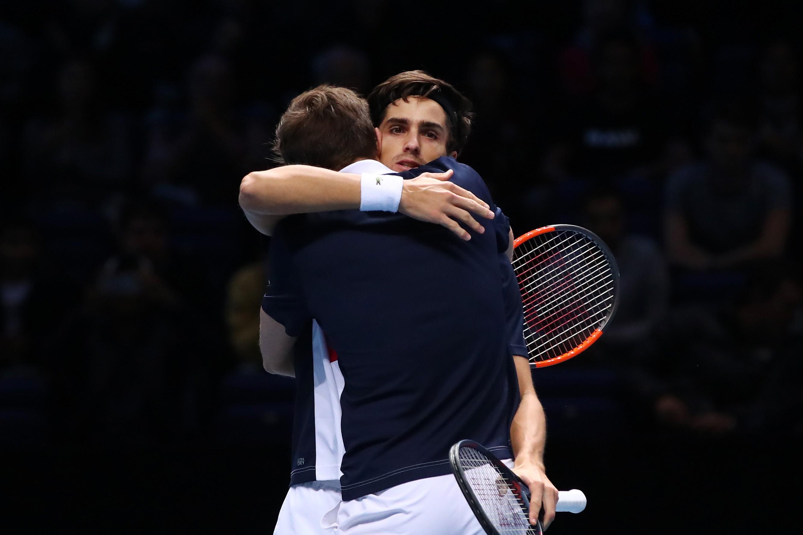 Nicolas Mahut et Pierre-Hugues Herbert lors de la 1/2 finale du Masters
