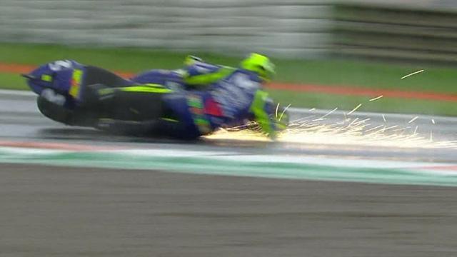 Verhängnisvoller Sturz: Hier lässt Rossi das Podium liegen