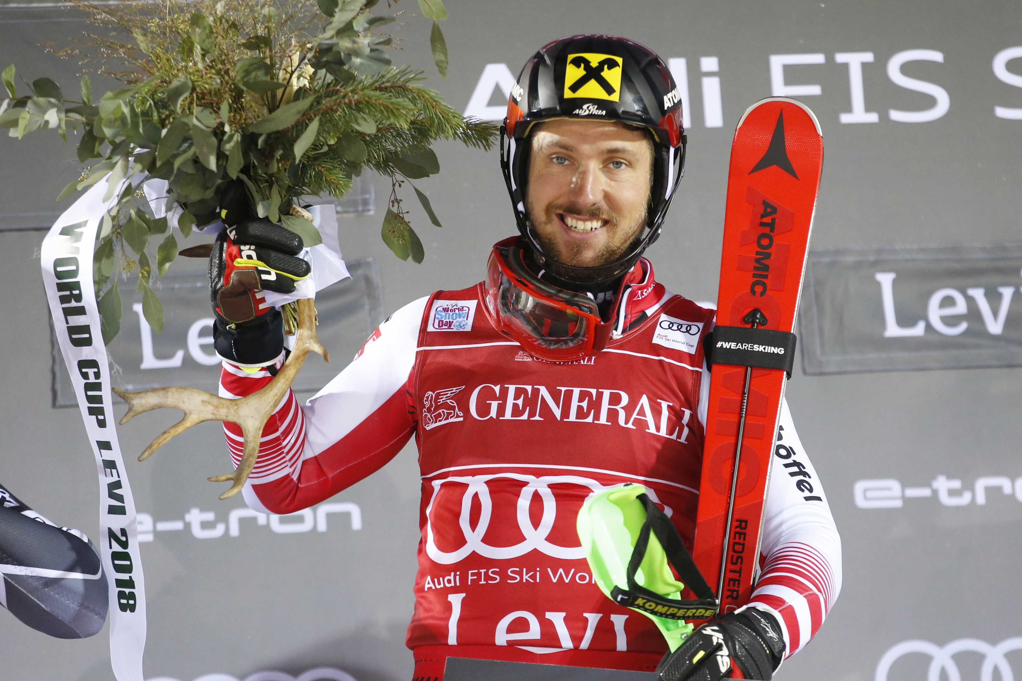 Marcel Hirscher of Austria takes 1st place during the Audi FIS Alpine Ski World Cup Men's Slalom on November 18, 2018 in Levi Finland