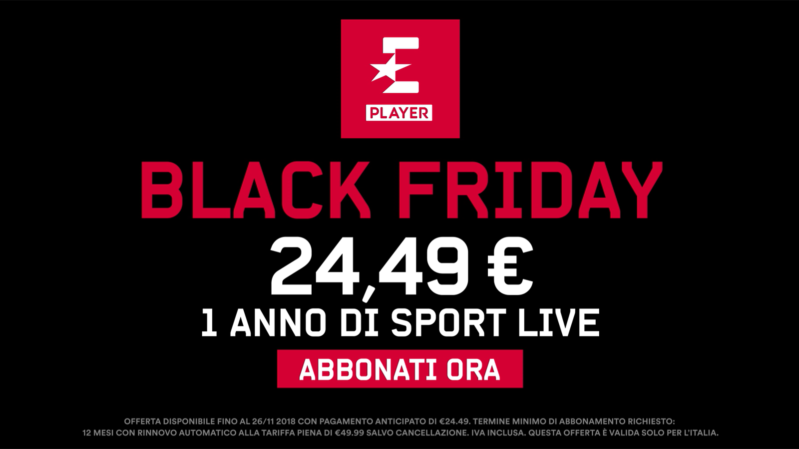 Arriva il Black Friday: Eurosport Player in offerta speciale a 24.49 euro per un anno!