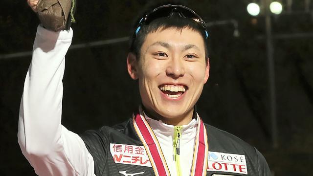 Shinhama celebrrates maiden Short Track World Cup victory