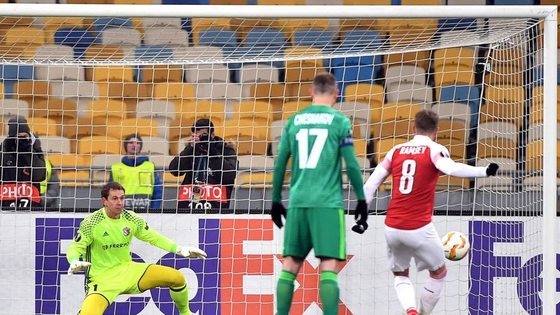 Arsenal Aaron Ramsey scores during UEFA Europa League, Group E, football match Vorskla FC vs Arsenal FC at the Olympiyski Stadium in Kiev on November 29, 2018.