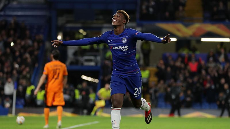 Callum Hudson-Odoi of Chelsea celebrates after scoring his team's third goal during the UEFA Europa League Group L match between Chelsea and PAOK at Stamford Bridge on November 29, 2018 in London, United Kingdom.