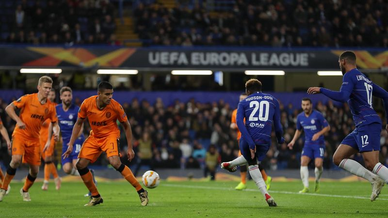 Callum Hudson-Odoi of Chelsea scores his team's third goal during the UEFA Europa League Group L match between Chelsea and PAOK at Stamford Bridge on November 29, 2018 in London, United Kingdom