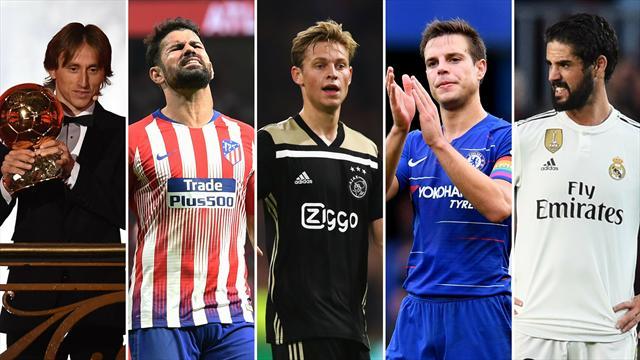 Modric, Costa, De Jong, Azpilicueta e Isco, los nombres del día