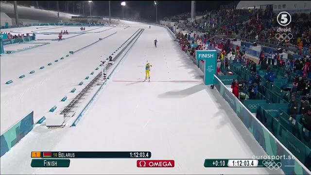 Här säkrar Hanna Öberg svenskt silver i stafetten