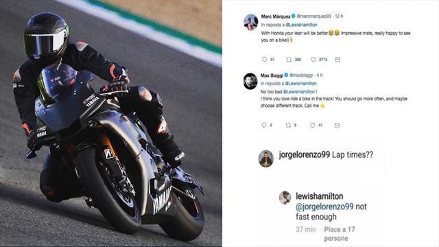"""""""Piego bene?"""". Marquez, Biaggi e Lorenzo aiutano Hamilton nel suo test sulla moto"""