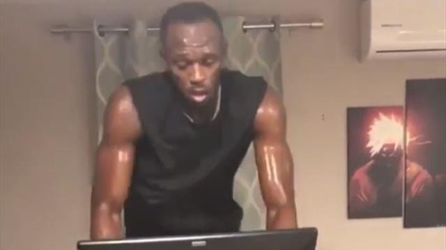 Usain Bolt se pega un palizón en la bici estática ¡Puso el suelo perdido!
