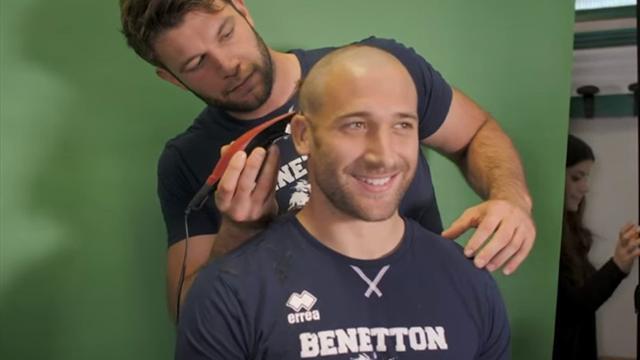 Cuore Benetton Rugby: giocatori con i capelli rasati per il compagno in chemioterapia