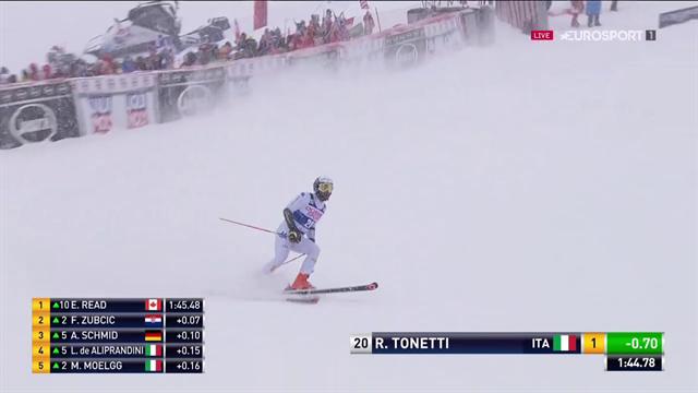 Tonetti centra il miglior tempo della seconda manche del gigante: è ottavo