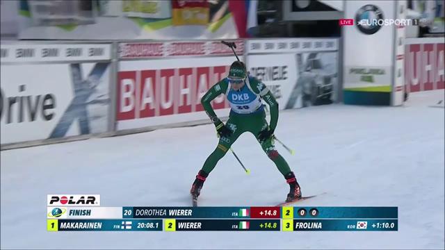 Dorothea Wierer da applausi: è seconda nella 7,5 km sprint dietro alla Makarainen, quinta Vittozzi