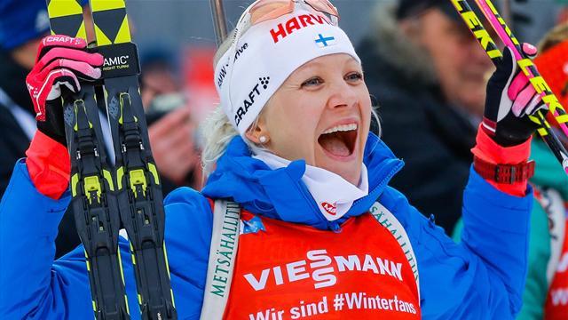 Snel en foutloos | Routinier Mäkäräinen wint sprint in Pokljuka