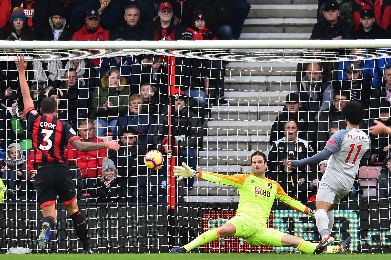 Mohamed Salah auteur du premier buteur pour Liverpool contre Bournemouth en Premier League le 8 décembre 2018