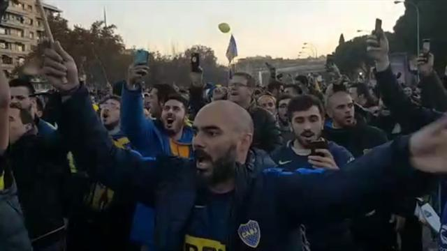 El traslado de los seguidores de Boca Juniors al Bernabéu se demoró respecto a lo previsto
