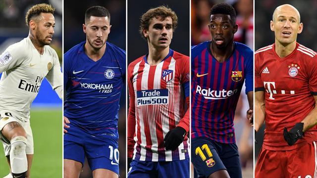 Neymar, Hazard, Griezmann, Dembélé y Robben, los nombres del día