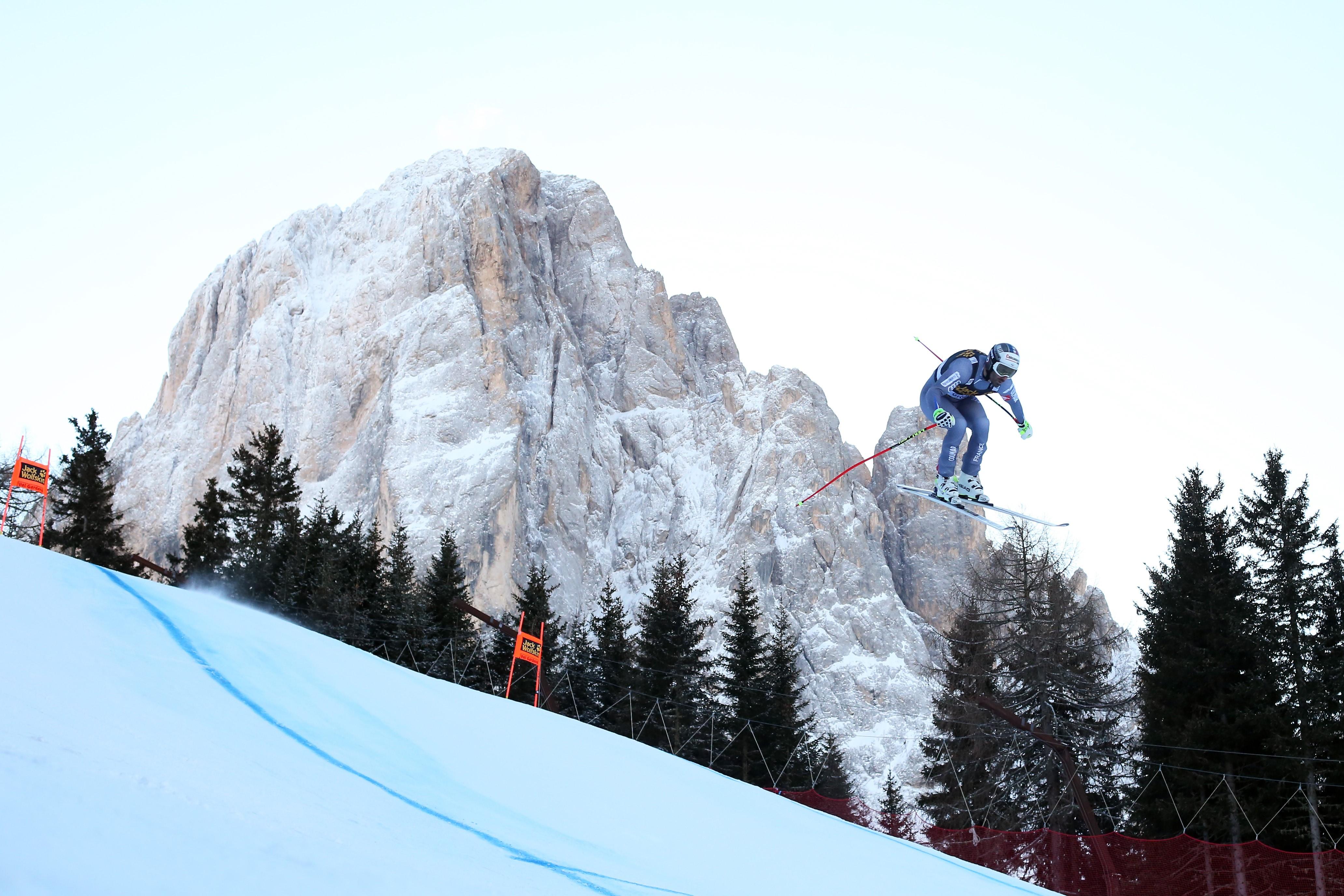 Adrien Théaux lors du premier entraînement de la descente à Val Gardena