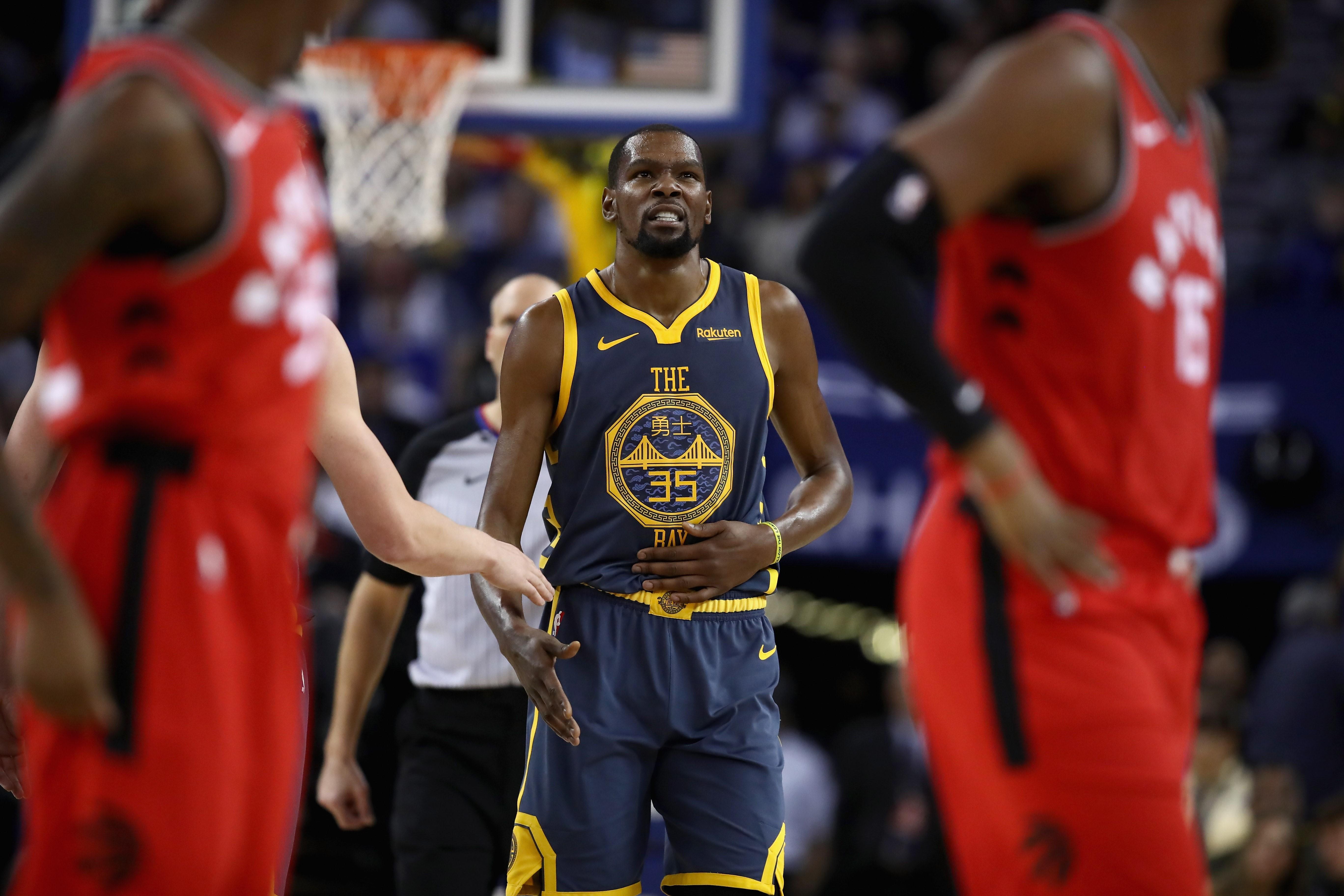 Kevin Durant lors de Golden State - Toronto en NBA le 12 décembre 2018