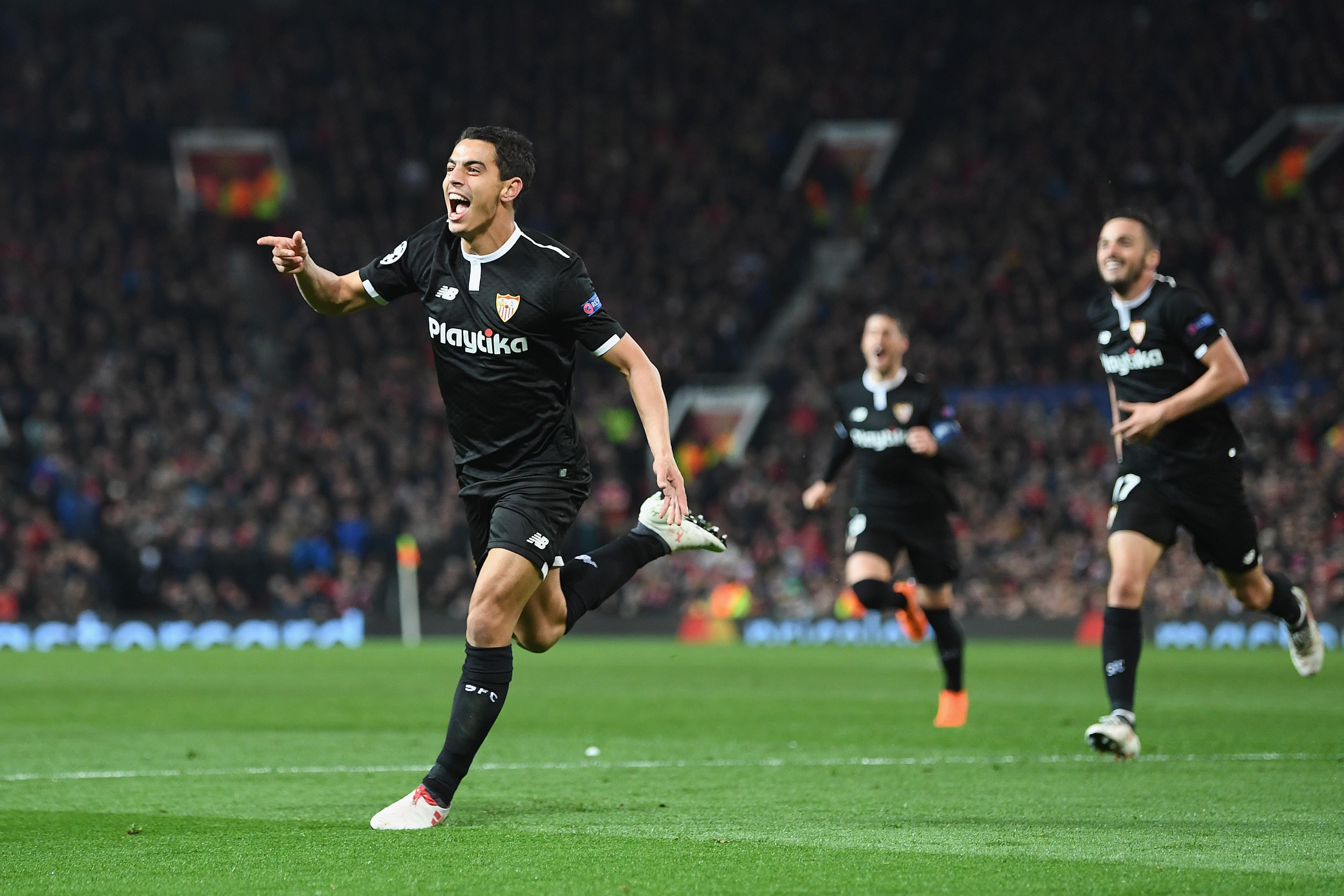 Wissam Ben Yedder buteur pour le FC Séville contre Manchester United en Ligue des champions le 13 mars 2018