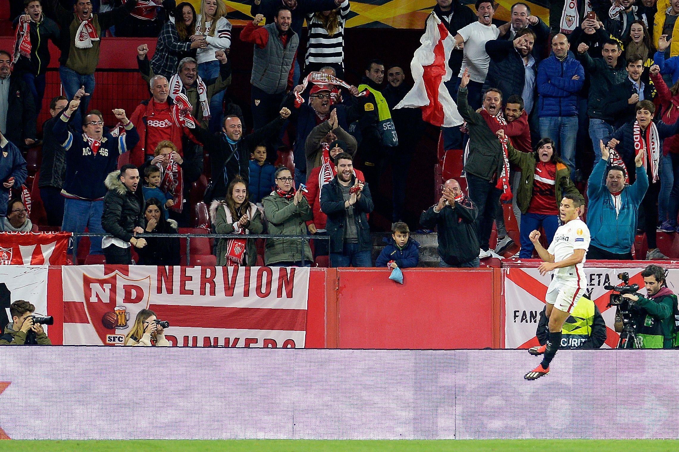Wissam Ben Yedder (FC Séville) buteur contre Krasnodar en Ligue Europa le 13 décembre 2018