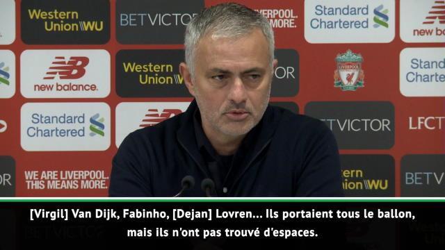 """17e j. - Mourinho : """"Liverpool mérite sa victoire"""""""