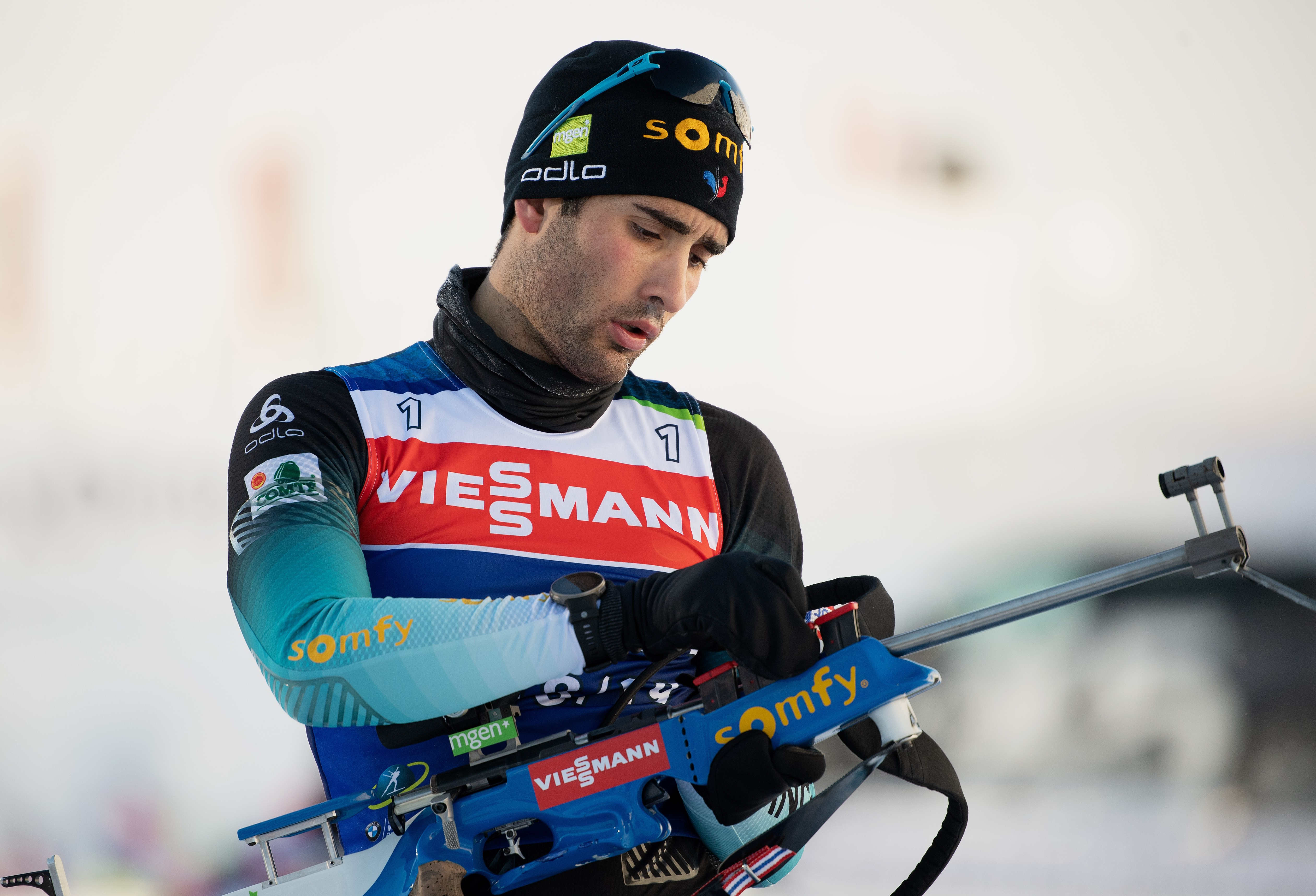 HOCHFILZEN, AUSTRIA - DECEMBER 13: Martin Fourcade of France practices at the shooting range during the Official Training for the IBU Biathlon World C