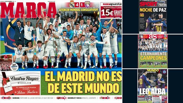 'El Real Madrid no es de este mundo' o 'Eternamente campeones', las portadas tras el Mundial