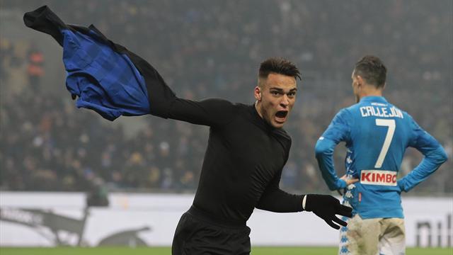 Zampata di Martinez, l'Inter batte 1-0 un Napoli nervoso: espulsi Koulibaly e Insigne