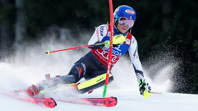 Verschil +0.48 | Mikaela Shiffrin houdt huis op de slalom (run 1)