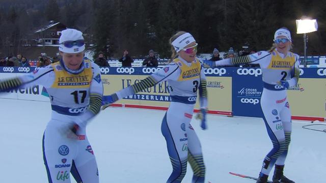 El floss dance se cuela en el deporte de invierno: así celebró Suecia en el Tour de ski