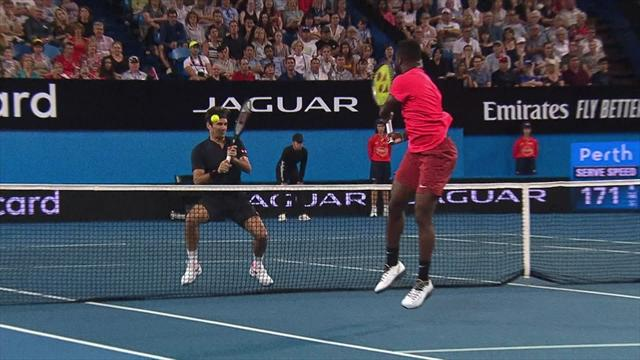 Tiafoe volleys ball into Federer's face