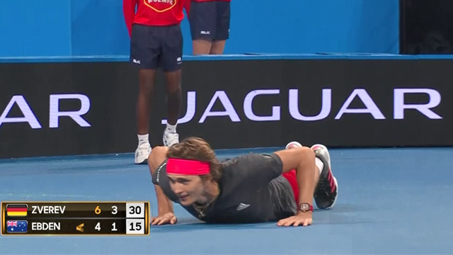 Zverev falls, styles it out with press-ups against Ebden