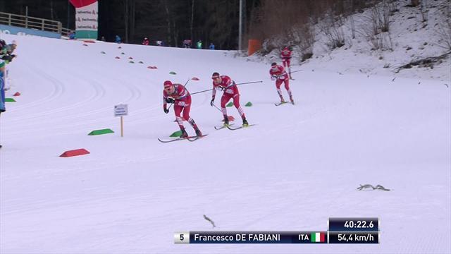 Мощная дуэль Клебо и Де Фабиани на финише Тур де Ски, в которой соперников разделили полсекунды